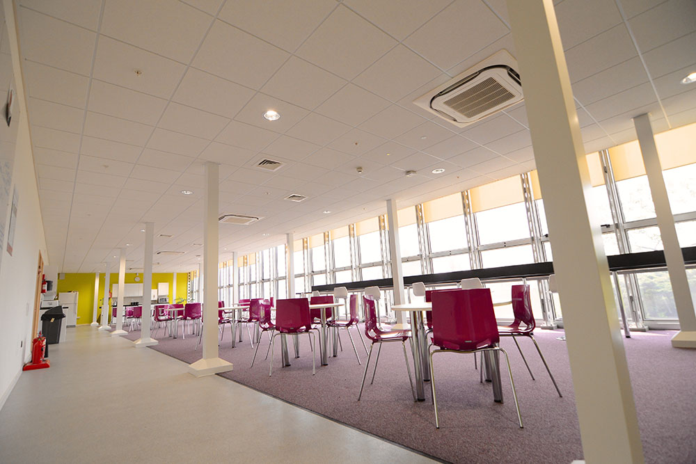 the hub case study interior canteen
